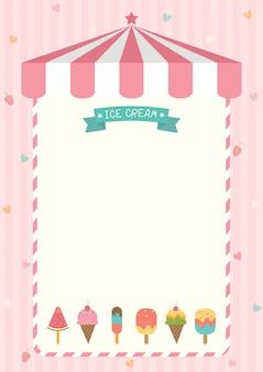 Modèle de menu de crème glacée mignon