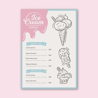 Modèle de menu de crème glacée