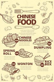 Modèle de menu de cuisine chinoise verticale