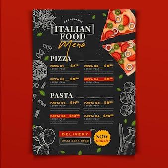 Modèle de menu de cuisine italienne dessiné à la main