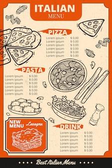 Modèle de menu de cuisine italienne verticale