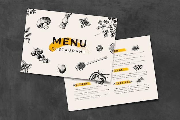 Modèle de menu de cuisine italienne