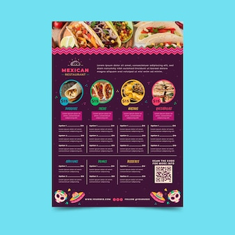 Modèle de menu de cuisine mexicaine avec photo