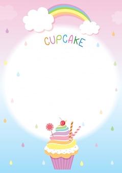 Modèle de menu cupcake arc-en-ciel