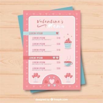 Modèle de menu cupcake valentine