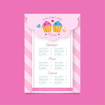 Modèle de menu de cupcakes plats pour la saint-valentin