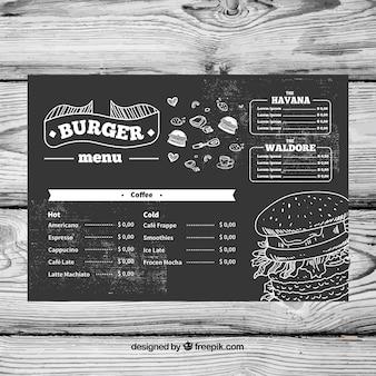 Modèle de menu dans le style de craie