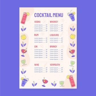 Modèle de menu de délicieux cocktails
