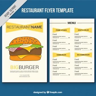 Modèle de menu avec de délicieux hamburgers dessiné à la main
