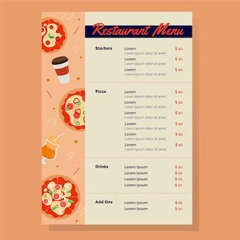 Modèle de menu de délicieux pizzas