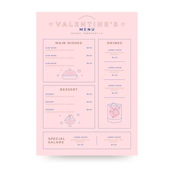 Modèle de menu délicieux de la saint-valentin