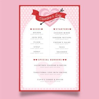 Modèle de menu design plat saint valentin