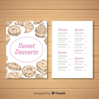 Modèle de menu dessert dessiné main