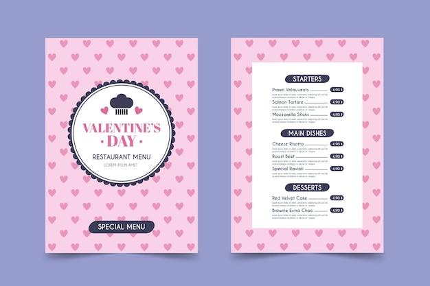 Modèle de menu dessiné à la main pour la saint-valentin