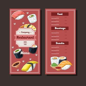 Modèle de menu dessiné main sushi