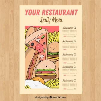 Modèle de menu dessiné à la main