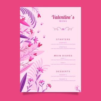 Modèle de menu dessiné pour la saint-valentin