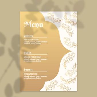 Modèle de menu doré pour mariage