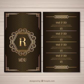 Modèle de menu doré pour rétro restaurant