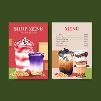 Modèle de menu avec du thé au lait à bulles