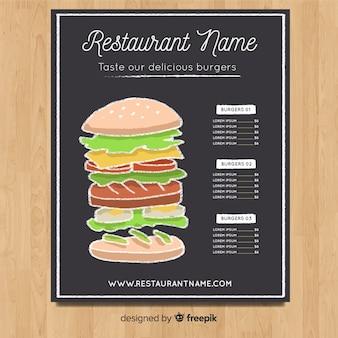 Modèle de menu élégant dessiné à la main