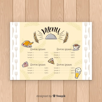 Modèle de menu élégant restaurant dessiné à la main