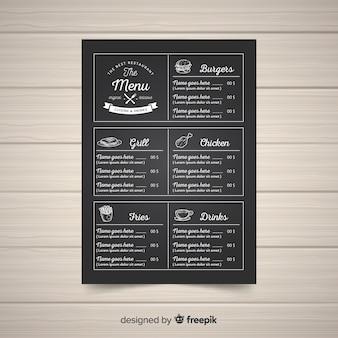 Modèle de menu élégant restaurant gastronomique