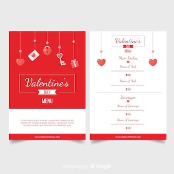 Modèle de menu des éléments suspendus saint valentin