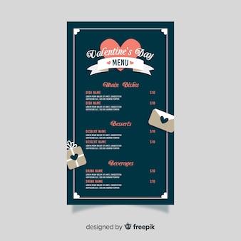Modèle de menu d'enveloppe de la saint-valentin