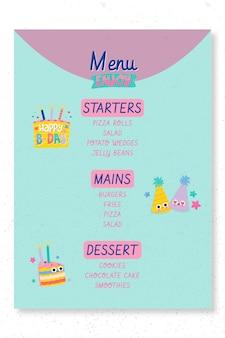 Modèle de menu de fête d'anniversaire pour enfants