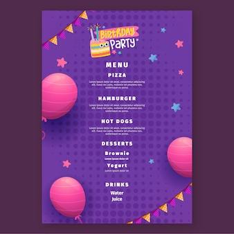 Modèle de menu de fête d'anniversaire