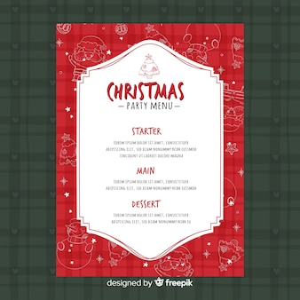 Modèle de menu de fête de noël