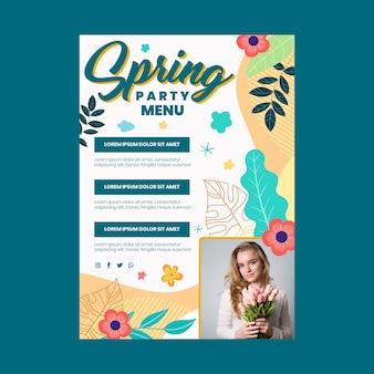 Modèle de menu de fête de printemps design plat