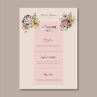 Modèle de menu avec des fleurs pour le mariage