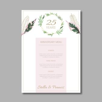 Modèle de menu floral anniversaire 25 ans