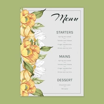 Modèle de menu floral pour mariage