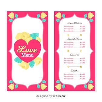 Modèle de menu floral saint-valentin