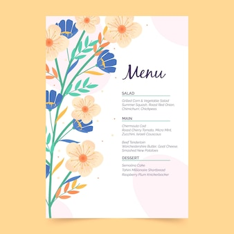 Modèle de menu floral