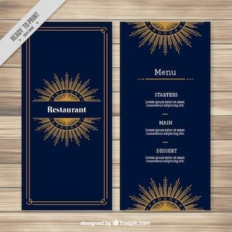 Modèle de menu foncé avec ornement sunburst or