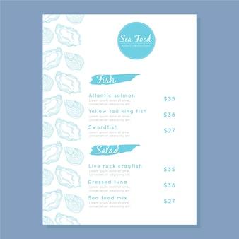 Modèle de menu de fruits de mer moderne