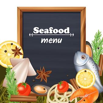 Modèle de menu de fruits de mer