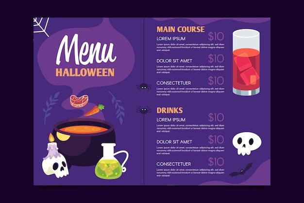 Modèle de menu halloween au design plat