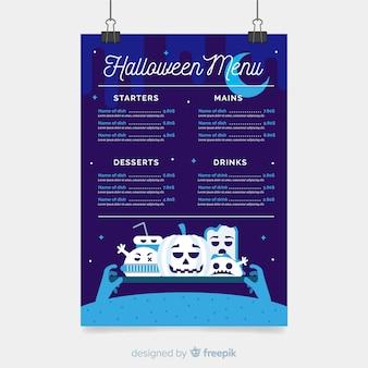 Modèle de menu halloween bleu foncé