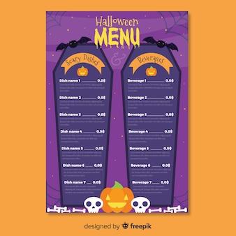 Modèle de menu halloween cercueil