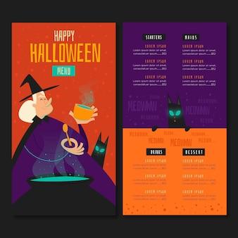 Modèle de menu halloween design dessiné à la main