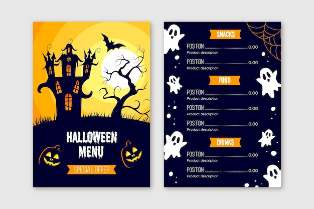Modèle de menu halloween design plat