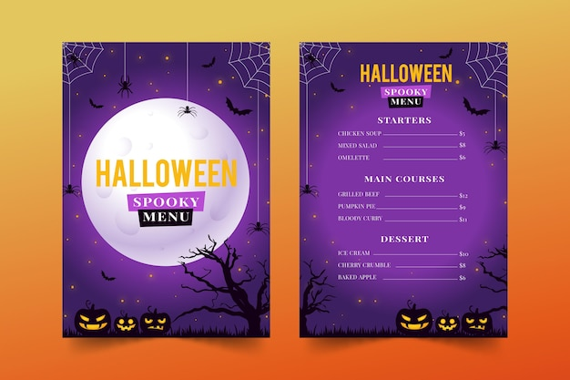 Modèle de menu halloween design plat