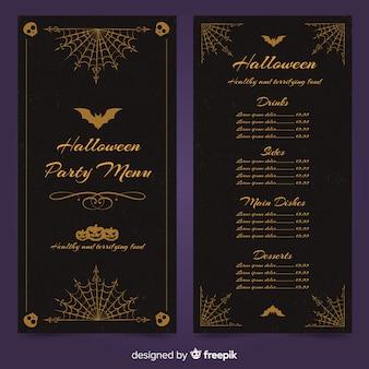 Modèle de menu halloween avec design vintage
