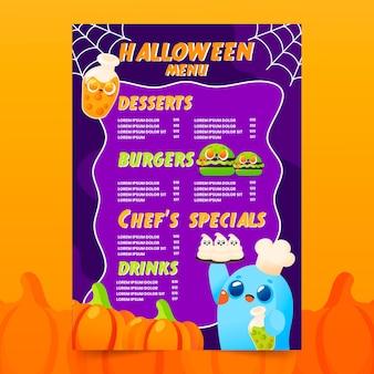 Modèle de menu halloween dessiné avec des illustrations