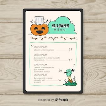 Modèle de menu halloween dessiné main coloré